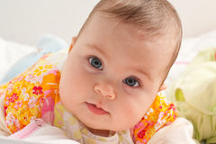 Sweet baby girl. Beautiful baby girl close up portrait Stock Photography