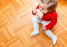 Baby. Eating. Bread. Head. Floor stock photography