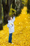 Sweet baby girl running in colorful autumn park Royalty Free Stock Photography