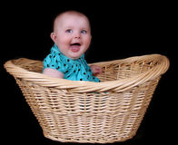 Sweet baby girl sitting in wicker basket. isolated Stock Photo