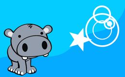 Sweet baby hippo cartoon cute background Stock Images
