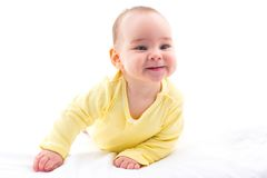 Sweet Baby Isolated On White Background. Portrait Of Sweet Baby Isolated On White Background Royalty Free Stock Images