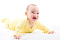 Sweet Baby Isolated On White Background. Portrait Of Sweet Baby Isolated On White Background Royalty Free Stock Photography