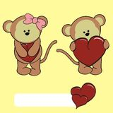 Sweet baby monkey cartoon love set Stock Photography
