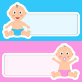 Sweet Baby Newborn with Blank Banner Stock Images