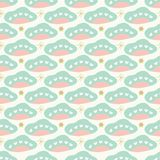 Sweet baby pastel clouds and stars geometric seamless repeat pattern vector background. stock illustration