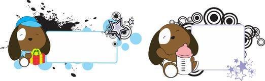 Sweet baby puppie cartoon set. Sweet baby mouse cartoon set in  vector format Stock Photo