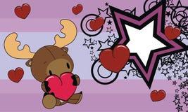 Sweet baby reindeer love heart cartoon background Royalty Free Stock Image