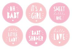 Cute Pink Baby Shower Vector Sticker Set. It`s a Girl Party. royalty free illustration