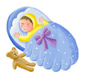 Sweet baby sleeping with teddy bear Royalty Free Stock Photos