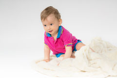 Sweet baby with a soft blanket Royalty Free Stock Photography