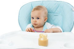 Sweet baby with spoon. Royalty Free Stock Photography