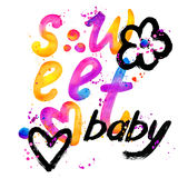 Sweet baby. T-shirt lettering graphics design. Text sweet. T-shirt graphics design. watercolor illustration Royalty Free Stock Photography