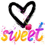 Sweet baby. T-shirt lettering graphics design. Text sweet. T-shirt graphics design. watercolor illustration Royalty Free Stock Images