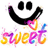 Sweet baby. T-shirt lettering graphics design. Text sweet. T-shirt graphics design. watercolor illustration. Sweet. T-shirt lettering graphics design. Text sweet Stock Image