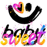 Sweet baby. T-shirt lettering graphics design. Text sweet. T-shirt graphics design. watercolor illustration Stock Photography