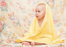 Sweet baby in towel Royalty Free Stock Photos