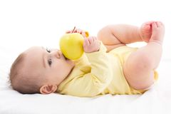 Sweet Baby Trying To Eat Apple, Isolated On White Background. Sweet Baby Trying To Eat Apple yet no teeth, Isolated On White Background Stock Image