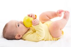 Sweet Baby Trying To Eat Apple, Isolated On White Background. Sweet Baby Trying To Eat Apple yet no teeth, Isolated On White Background Royalty Free Stock Photo