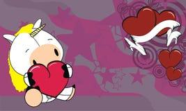 Sweet baby unicorn love heart cartoon background Stock Photo