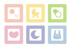 Sweet baby vector icons with polka dots. Sweet, pastel icons with polka dots; vector isolated on white background. Moon, heart, pram, bib, dummy and rattle Royalty Free Stock Images