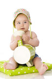 Sweet baby with watering can Stock Images