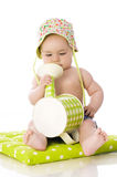 Sweet baby with watering can Royalty Free Stock Photography