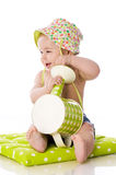 Sweet baby with watering can Royalty Free Stock Images