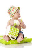 Sweet baby with watering can Royalty Free Stock Photos