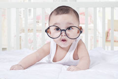 Sweet Baby Wearing Glasses Royalty Free Stock Photo