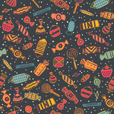 Sweet background. Candy seamless pattern on darkbackground. Sweet  illustration Royalty Free Stock Images