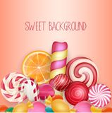 Sweet background with lolipop, ice cream, orange and candies Stock Photos