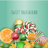 Sweet background with lollipop, ice cream, orange and candies Stock Photos