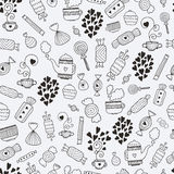 Sweet background. Love candy background with sweets, hot tea, hearts, mugs and teapots. Food and drink vector seamless pattern Royalty Free Stock Images