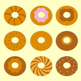 Sweet bagels set. A colorful set of sweet fresh bagels Stock Image