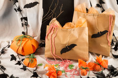 Sweet bags. Bags full of candy for a kid Halloween party Royalty Free Stock Photos