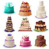 Sweet Baked Cakes Set Royalty Free Stock Photo