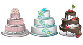 Sweet baked cakes set. With colorful different decorated confectioneries and desserts isolated vector illustration Royalty Free Stock Photography