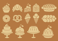 Sweet baked food silhouettes set Royalty Free Stock Photos