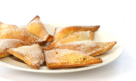 Sweet baked pastry triangles Royalty Free Stock Photography