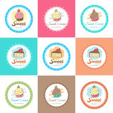 Sweet bakery badge label and logo Stock Photos