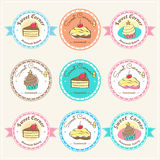 Sweet bakery badge label and logo Royalty Free Stock Image