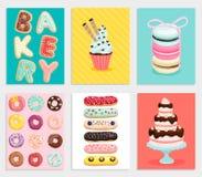 Sweet bakery card set. Stock Photo