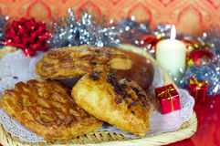 Sweet bakery for Christmas gift and a candle Royalty Free Stock Photo