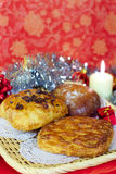 Sweet bakery for Christmas gift, candle vertical Royalty Free Stock Images