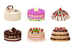 Sweet Bakery Collection Poster Vector Illustration. Sweet bakery collection, poster with cakes made of cream and biscuit, berries and chocolate, strawberries and Stock Photos