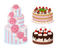 Sweet Bakery Collection Poster Vector Illustration. Sweet bakery collection, poster with cakes made of cream and biscuit, berries and chocolate, strawberries and Royalty Free Stock Photos