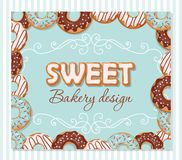 Sweet bakery design template. Cartoon hand drawn letters and donut frame on pastel blue. Vector Stock Photo