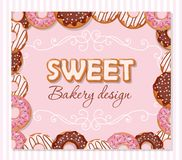 Sweet bakery design template. Cartoon hand drawn letters and donut frame on pastel pink. Vector Stock Photo