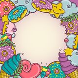 Sweet bakery donuts icecream color frame Stock Photo